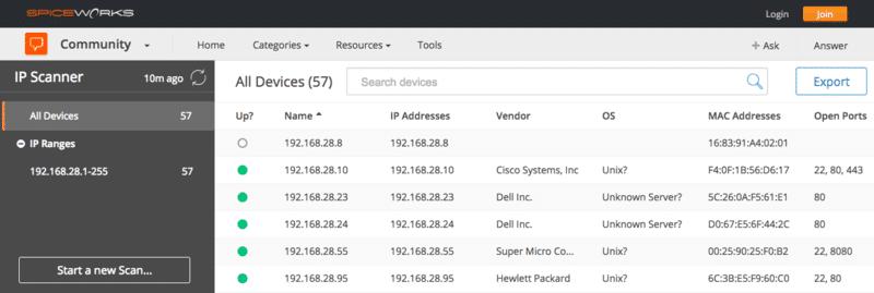 Spiceworks IP Scanner